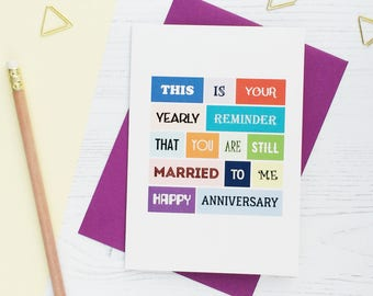 Funny Anniversary Card | Happy Anniversary | For Husband | For Wife | Cheeky | Joke | Anniversary Humour | Blank | SE0117A6