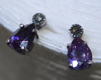 Earrings.Purple Amethyst.Maqasite.Silver 925 Gems.Gifts.Sparkle.Feburary Birthstone.Stones.Rocks.Vintage.