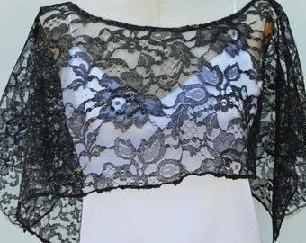 Cape, lace, Black Lace, iridescent, Black Lace poncho cover-up Black Lace cape, cape, black Calais dentellede