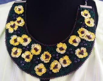 Golden Daisy Bib Necklace