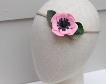 cotton candy pink anemone felt flower headband / nylon headband / wool blend felt / handmade felt flower / baby, newborn, photography prop