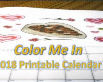 SALE - Printable Calendar - Coloring Calendar