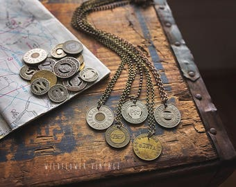 Vintage Transit Token Necklace | Bus Subway Railway Travel Road Trip Coin Repurposed Unique Gift