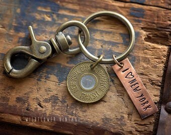NYC key chain | I love New York Vintage Subway Transit Token hand stamped key ring Lobster Clasp Unique Gift