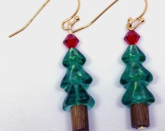 Christmas Earrings, Tree Earrings, Charm Earrings, Christmas Tree Earrings