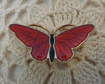 Vintage Enamel Butterfly Brooch, Butterfly Pin