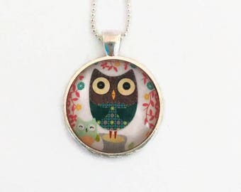 OWL necklace - Glass 25mm - bronze - Owl jewelry