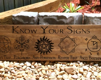 Supernatural Sign, Winchester, Know your signs, Wood Sign