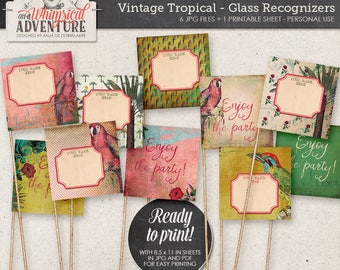 Summer Party, Tropical Party Idea, Straw Flags DIY, Instant Download, Printable Digital Collage Sheet, Palm Trees, Parrots, Hibiscus Flower