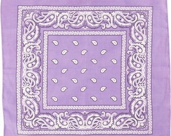 "Bandana  +/-19.7"" x 19.7"" (+/-50 cm x 50 cm) lilac purple black white The Weavers Mill"