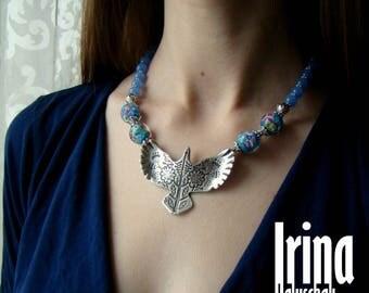 Sale Blue bird necklace Bead necklace Lampwork glass beads necklace Floral necklace Flower beads necklace Bird pendant Ukrainian necklace Bo