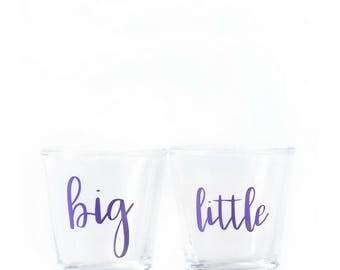 Big AND Little Shot Glasses - Big Little - Big Lil - Sorority Big Little - Sorority Sister - Big and Little - Big Shot Glass - Little - Big
