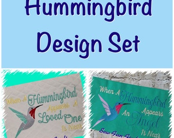Hummingbird Appears Design Set, 2 Sizes, Embroidery Saying, Reading Pillow Saying, Subway Art, Embroidery Design INSTANT DOWNLOAD