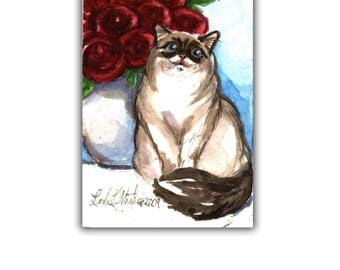 Siamease Birman Cat Red Roses Easter Spring Baby Nursery New Mom llmartin Original ACEO Watercolor Mothers Day
