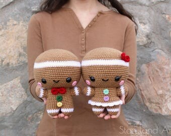 PATTERN: Cuddle-Sized Gingerbread Twins Amigurumi, Crocheted Gingerbread Man, Toy Tutorial, PDF Crochet Pattern, Holiday Winter Crochet