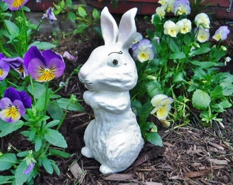 Bunny Rabbit Figurine/Garden Decor/Porch Decor/Ceramic Bunny/Cottage Decor/Kitschy/Vintage