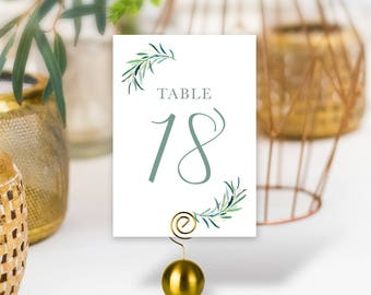 Greenery Wedding Table Numbers / Eucalyptus Crest / Initial Monogram Crest, Eucalyptus Leaves / PRINTED Table Numbers, Double-Sided