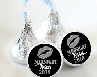 108 Midnight Kisses Hershey Kiss Stickers  - New Years Eve Kiss Labels - Bachelorette Kiss Labels - Bachelorette Party Decor - Silver Kiss
