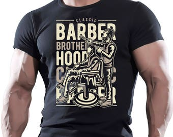 Barber Brotherhood. Men's Black Cotton T-shirt.
