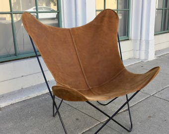 "The ""Butterfly"" B.K.F. Chair Originally Designed in 1938 Steel Rod Patio Lounge Sling Chair- BROWN LEATHER"
