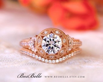 2.26 ct.tw Vintage Art Deco Bridal Set-Brilliant Cut-Engagement Ring W/ Curve Wedding Ring-Rose Gold Plated-Sterling Silver [61971RG-2A]