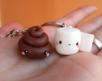 Paper and Poop Friendship necklaces Couple BFF best friends Valentine's day