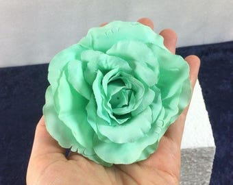 1 Big Mint Green Rose Silk Rose Silk Flowers Clip Artificial Flowers Scrapbooking Flower Embellishments Craft Flowers