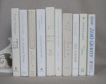 Book Bundle in White and Ivory, Decorative Book Set, Wedding Books