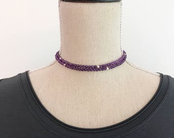Double Wrap Choker and bracelet with Amethyst and Sterling Silver, Purple beaded necklace, amethyst choker, gifts for Wife, Stocking Stuffer