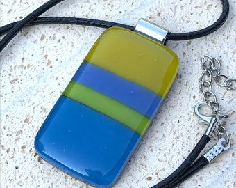Striped Fused Glass Pendant  in Blues and Greens with Leather Cord