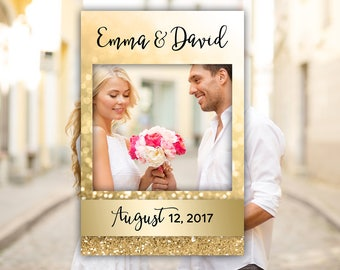 Photo Prop Frame Wedding Photo Booth Props Printable Personalized Photo Frame Gold Glitter Wedding Photo Frame Digital  24 x 36""