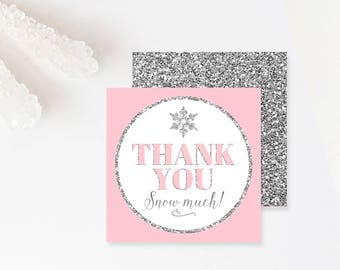 Winter Birthday Favor Tags Winter Onederland Thank You Tags Pink And Silver Girl Birthday Gift Tags Thank You Snow Much Download PRINTABLE