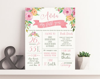 Boho Milestone Board Girl First Birthday Poster Personalized Baby Infographic Watercolor Roses Floral Birthday Decor Printable Poster 16x20