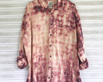 XXL - Flannel Shirt - Bleached - Vintage Washed Flannel - Oversized Flannel - Distressed Flannel - Plaid Shirt - Fall Shirt - #85 - 2025