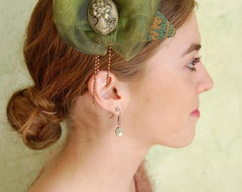Green Cocktail Victorian fascinator with feathers and big organza bow and cameo bronze