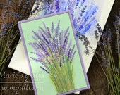 Fabric Postcard - Pirple Postcard - Quilted Postcard - Lavender - Greeting Card - Lavender Field - Fiber Art - Textile Art - Embroidery