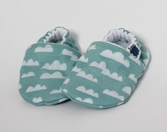 Children slippers, Clouds, Blue, Green, Cloudy Sky, Fall, Flannel, Cotton, Soft soles Moccasins, Shower gift, Newborn, Baby shoes
