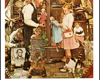 Curiosity Shop and The Bird, Post Covers by Norman Rockwell, The page is approx. 11.5 inches wide and 15 inches tall.