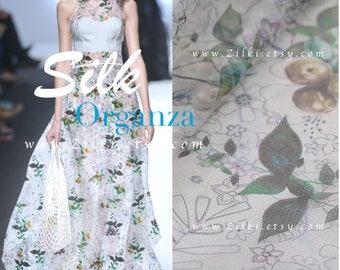 Green Leaves organza Silk fabric by the YARD