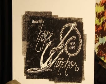 """Hope as an Anchor [Hebrews 6:19], Linocut Print on 9x12"""" Paper, Available in Black and Turquoise"""