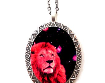 Space Lion Necklace Pendant Trippy - Psychedelic Festival Fashion - Cosmic Outerspace Spirit Animal