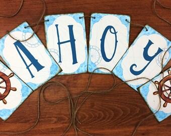 Nautical Party Banner Jute String Inked Chipboard Mounted Inked Edges Blue Brown Vintage Ecru Ahoy Skipper Ships Wheel