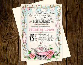 Carriage Baby Shower Invitations Personalized Custom Printed Set of 12 Party Invites Vintage Ecru Pink Girl