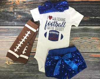 I Love Watching Football With Daddy, Football onesie, leg warmers, sparkly shorts, Baby girl outfits, girl headband, Cowboys football.