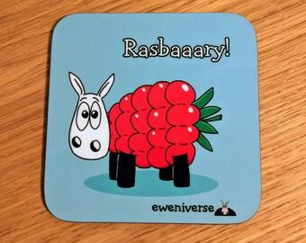 Cute sheep coaster, Rasbaaary! Fun coaster, Funny drinks mat set, Sheep gifts, Colorful homeware, gifts for knitters, Rasberry, fun gift