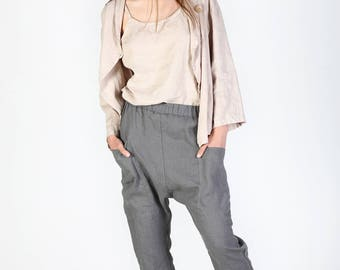 Linen pants with deep pockets, Linen Drop Crotch Pants, Linen pants, Woman pants, Natural linen pants, Trousers, Stone washed linen