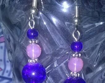 handmade earrings pink and purple