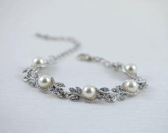 Silver Antique Vintage Style Pearl Bracelet, Bracelet For Brides, Brides Crystals Bracelet, Bridal Bracelet, Bridesmaids Wedding Jewellery