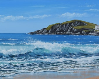 Burgh Island, Devon - Original Acrylic Seascape Painting - Surf Art