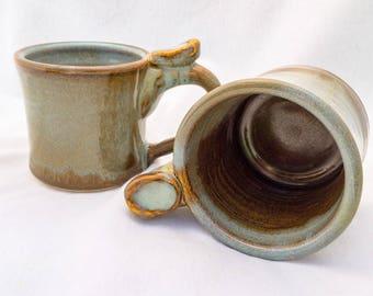 Mug with thumb rest (10 oz), stoneware- light blue and brown glaze, spiral stamp, ceramic mug, set of mugs, coffee mug, tea mug, ten ounce